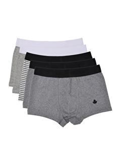 ADAM BOXES Boxer Trunk Cosy Beyaz, Siyah, Gri, Antrasit, Gri Çizgili 5'li Paket